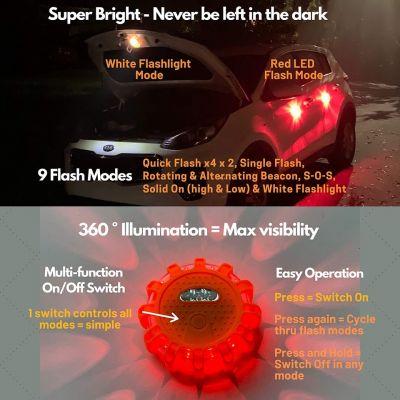 LED waarschuwingslichten - set van 3 met opbergtas